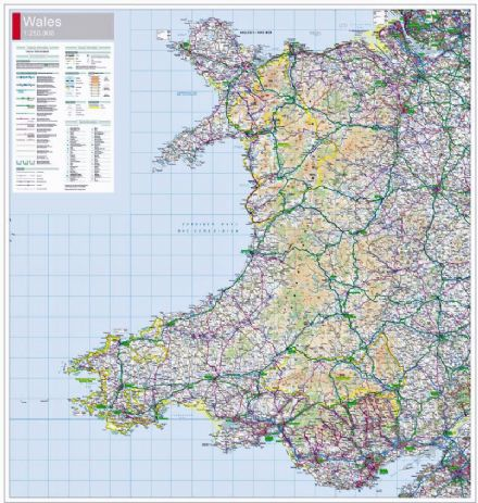 Wales 2015 Ordnance Survey at 1:250,000